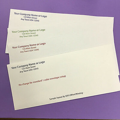 500 #10 Envelopes Custom Printed In 1 Color FAST FREE SHIPPING