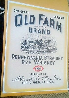 Old Farm Brand Pennsylvania Straight Rye Whiskey Overholt Scottdale PA. Poster