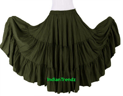 Olive Green 100% Cotton 10 Yard 3 Tiered Gypsy Skirt Belly Dance Flamenco Soft
