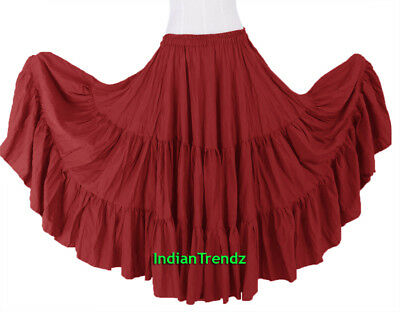 Red 100% Cotton 10 Yard 3 Tiered Gypsy Skirt Belly Dance Flamenco Soft