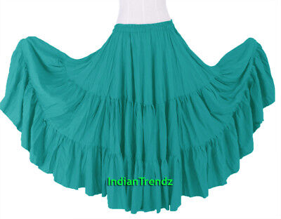 Turquoise 100% Cotton 10 Yard 3 Tiered Gypsy Skirt Belly Dance Flamenco Soft