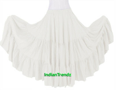 White 100% Cotton 10 Yard 3 Tiered Gypsy Skirt Belly Dance Flamenco Soft