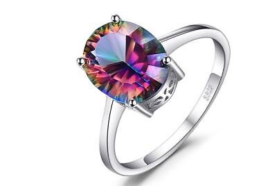 Jewelry 2.5ct Genuine Fire Rainbow Coated Quartz Ring 925 Sterling Silver