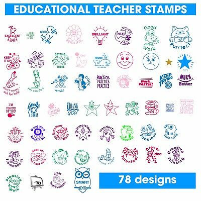 Self Inking EDUCATIONAL TEACHER Rubber Stamps, 78 designs to choose from