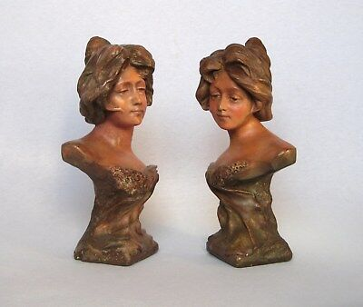 ANTIQUE PAIR OF FRENCH BUST STATUETTES from the ART NOUVEAU era (1890s-1910s)