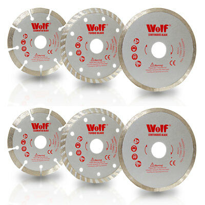 "Wolf 6 Pack 115mm 4.5"" Angle Grinder Diamond Tipped Cutting Discs Blades"