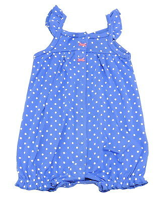 Carters Baby Girls Size 18 Months Sleeveless Crab Romper, Blue/Multi