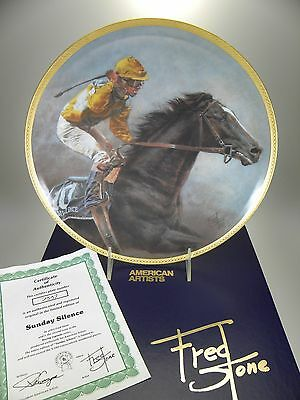 """Fred Stone Sunday Silence Horse Collector Plate (#2537) 10"""" Original Box & Cert"""