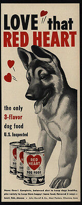 1951 Cute GERMAN SHEPHERD Puppy Dog Loves RED HEART Dog Food VINTAGE AD
