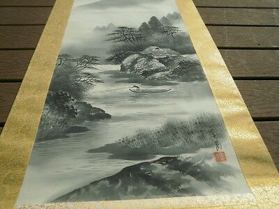 Original Antique Japanese Silk Scroll