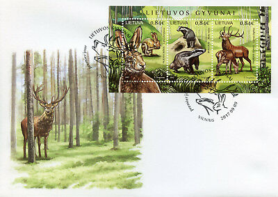 Lithuania 2017 FDC Wild Animals Deer Badgers Hares 3v M/S Cover Fauna Stamps