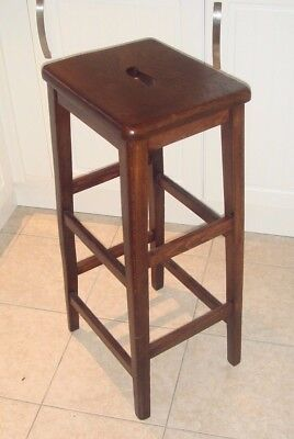 Rare 1930's GLENISTER Wycombe Solid Dark Oak Lab Stool - Makers Stamp 80cm High!