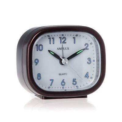Small Travel Sweep Silent Movement Beep Alarm Clock With Snooze Brown