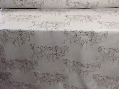 Camargue Horse  Grey French Linen/Cotton 280cm Wide Curtain/upholstery Fabric