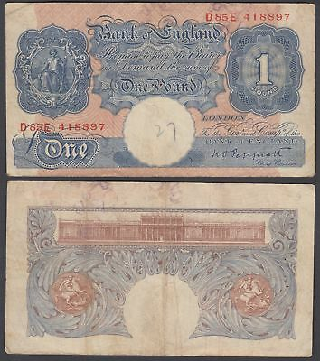 Great Britain 1 Pound ND 1940 (F) Condition Banknote KM #367