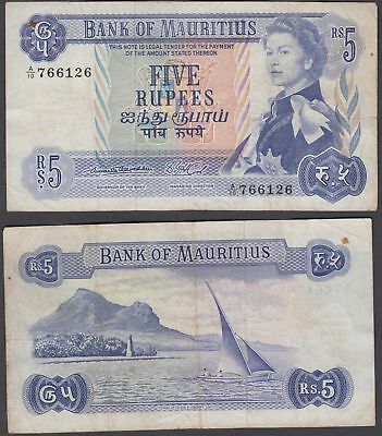 Mauritius 5 Rupees 1967 (VF) Condition Banknote P-30a QEII