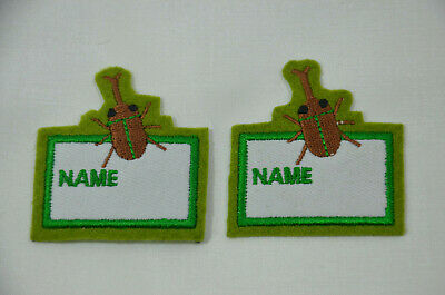 2x NAME LABEL TAG BEETLE BUG Embroidered Iron Sew On Cloth Patch Badge APPLIQUE