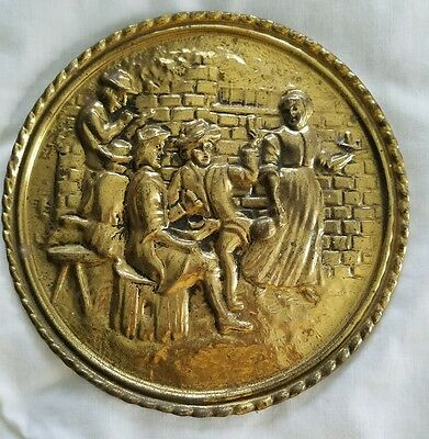 Vintage Brass Decorative Wall Hanging Plate Made in England 8""