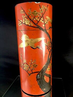 Vintage Japanese Lacquer Tea Caddy Tin Tea Can With Inlay