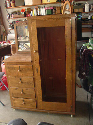 Antique oak child's wardrobe/dresser with mirror - local pick up Tiffin, OH only