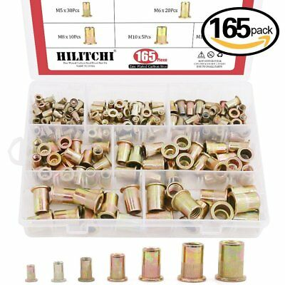 Rivet Nut Tool Kit 150pcs Mixed Zinc Steel Rivnut Insert Nutsert Carbon Threaded