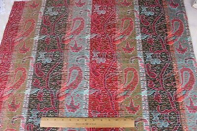 Antique 19thC French Ethnic Woven Paisley Stripe~Turquoise,Red,Brown~Christmas