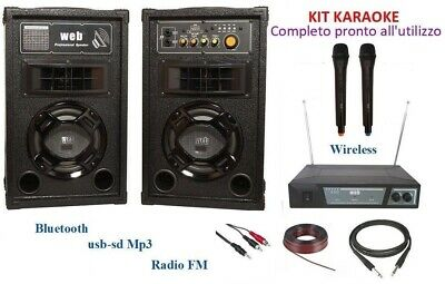 Kit Impianto Audio Karaoke Casse Mixer Bluetooth + Microfoni Wireless Wifi 600W