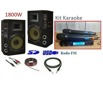 Kit Impianto Audio Karaoke Casse Mixer Bluetooth + Microfoni Wireless Wifi 1800W