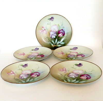 Antique Set of Five Early 1900s Ginori Italian Hand Painted Plates