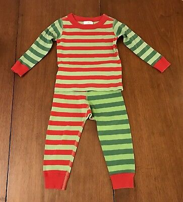 Hanna Andersson Green Red Striped Christmas Pajamas Size 18 To 24 Months 80 EUC