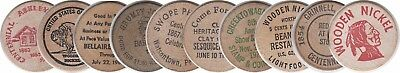 10 Different Earlier Date Wooden Nickels  1950's-80's Time Frame