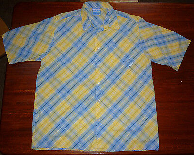 SOUTH POLE Mens Shirt Yellow Blue Plaid Short Sleeve Button Size XL NICE! EUC