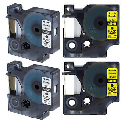 4PACK Compatible for DYMO D1 45013 45018 12mm Label Tape LabelManager LabelPoint