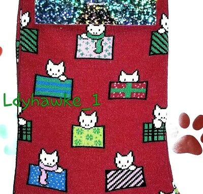 Cat Lover Holiday Gift HOT SOX Christmas Kitty Cat & Presents Women's Socks NWT