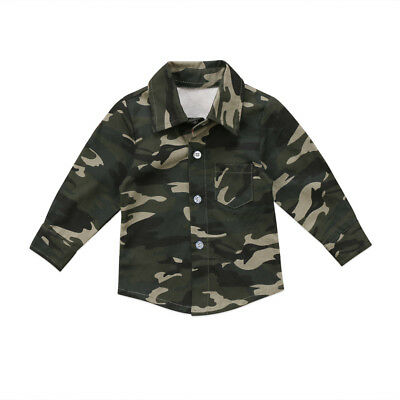 Newborn Kids Baby Boys Girls Camouflage Tops Shirt Long Sleeve Clothes juatia0