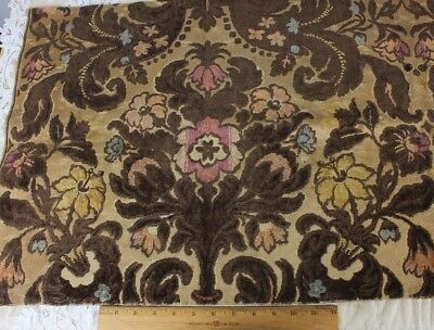 Vintage French Heavy Cotton Cut Velvet Fabric~Frame Layout c1920s-1930s