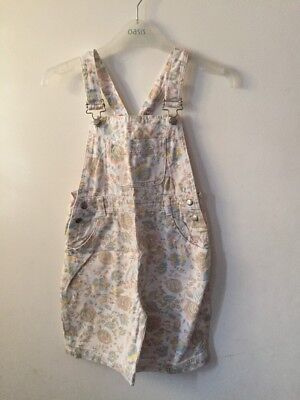 Children's White Floral Dungarees, Age 7-8 Years, Shorts, Good Condition