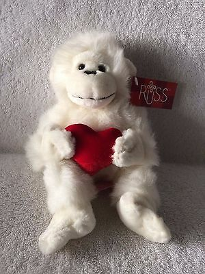 """""""Mambo"""" The White Gorilla 9"""" Plush w/Heart Made by Russ w/Tags Attached! NEW!"""