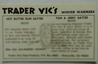 Drink Recipe Card Trader Vic's Famous Winter Warmers Hot Butter Rum Tom&J *Rare*