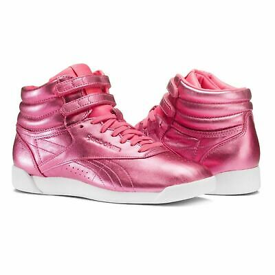 5ba016631155 Like us on Facebook ·  CN0960  Womens Reebok Classics Freestyle HI Metallic  Sneaker - Pink White