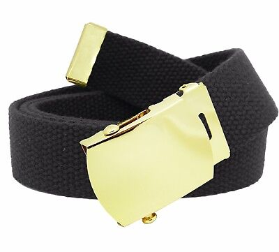 Boys School Uniform Gold Brass Slider Belt Buckle with Canvas Web Belt