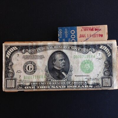 1934 $1000 Chicago ONE THOUSAND DOLLAR BILL Federal Reserve Note