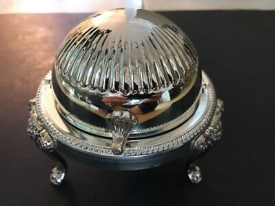 Vintage Leonard Silverplate 3 Footed Butter Dish