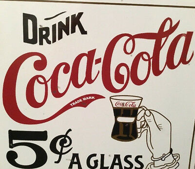 "Vintage Scarce Drink Coca Cola 5 Cents A Glass 10"" Porcelain Metal Soda Pop Sign"