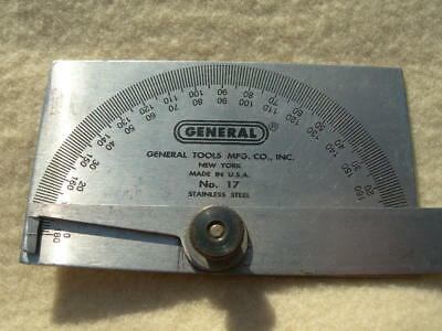 General Tools No.17 Square Head Metal Protractor, Stainless Steel, Made in USA