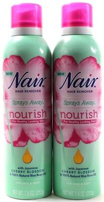 2 Nair Hair Remover Sprays Away Nourish Cherry Blossom 7.5 oz Cans