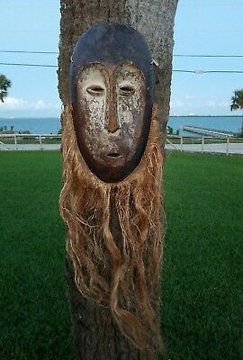 VINTAGE AFRICAN CARVED WOOD MASK  With Beard Handmade Tribal Tribe Wooden