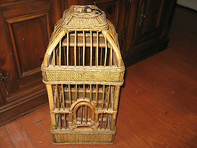 """Vintage LARGE ASIAN Bamboo Bird Cage 25"""" Hand Carved Hanging Style GREAT BUY!!"""