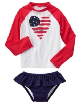 Gymboree Red White & Cute Heart Rash Guard 2-Pc Set Swimsuit 4 5 6 7 8 Nwt