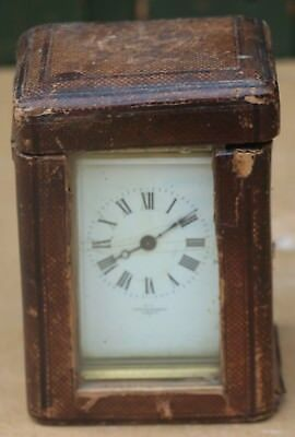 Old Tatty Cased Mappin & Webb Of London Brass Carriage Clock To Restore
